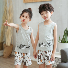 Summer Boys Girls Clothing Children Tracksuit 100 Cotton Kids Clothes 2pcs Vest Pant Clothes Sets For Babies Cartoon Outfits cheap LUOYIMENG Casual CN(Origin) O-Neck Pullover Unisex Sleeveless Regular Fits true to size take your normal size girls clothes