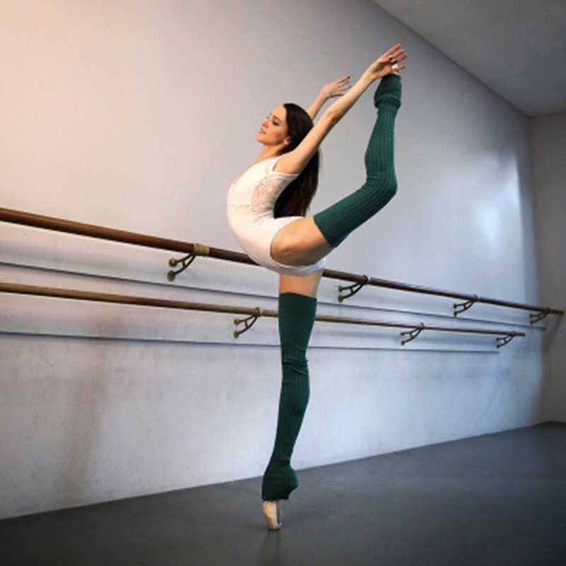 Calentadores de piernas para baile de Ballet de punto para adultos de invierno para mujeres de 90CM bota larga por encima de la rodilla tejido baile de Ballet apretado térmico Lagguard