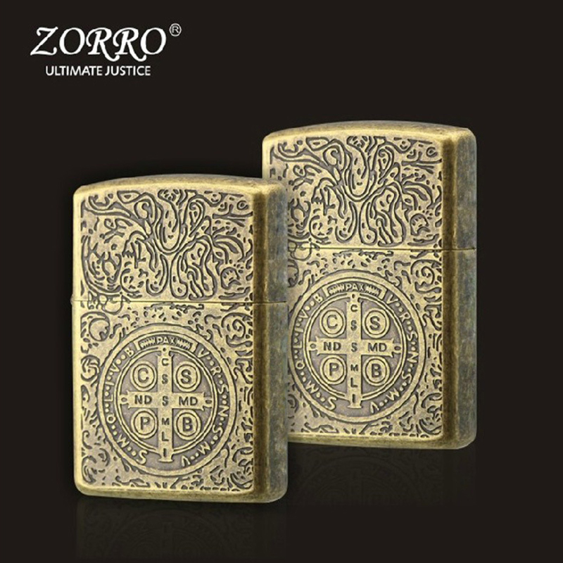 Wind Proof Kerosene Personality Portable Cigarette Lighter Pure Copper Shell Machine Constantine Three Side Ring Cutting Process