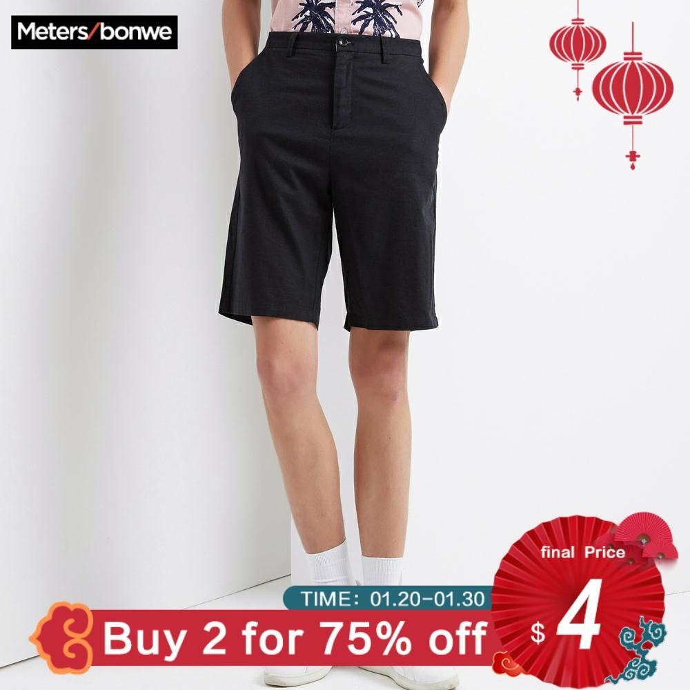 Metersbonwe Men's Summer Casual Short Pants Cotton Linen Fashion Vintage Streetwear Shorts Camouflage Color Breathable Plus Size