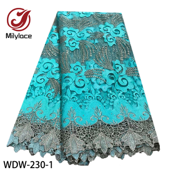 2020 French Mesh Embroidery Lace Fabric High Quality Sky Blue African Guipure Lace Trim Fabric for Wedding Dress WDW-230