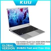 KUU 14.1 inch Intel N3450 Quad Core 8GB DDR4 RAM 256GB SSD Notebook IPS Laptop Full Layout Keyboard additional Sata 2.5 port