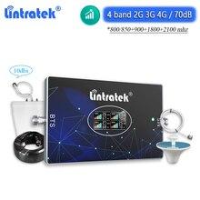 Lintratek 2G 3G 4G LTE B20 800 CDMA 850 GSM 900 Signal Booster 4 Band Cellular Repeater DCS 1800 WCDMA 2100 Amplifier Set