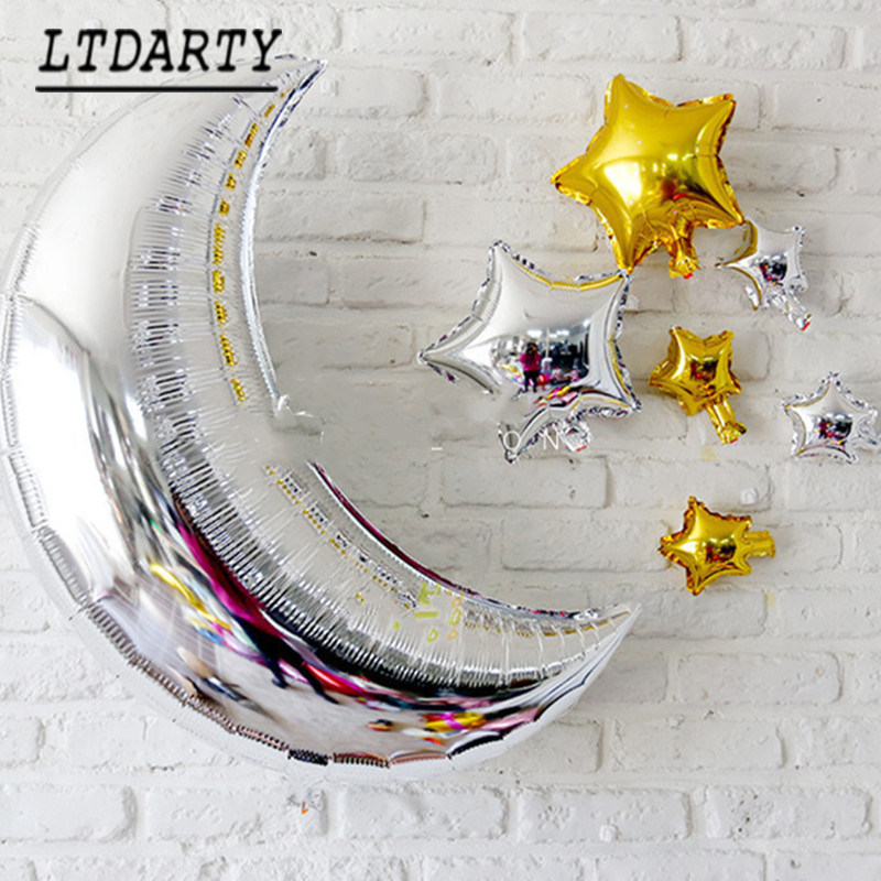 "7pcs 36"" silver gold moon sun cloud star balloon children birthday party decoration gift classic toy baby air Globos ball(China)"