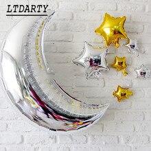 """Globo de luna de oro plateado de 36 """"para niños, globo de estrella de nube solar, decoración de fiesta de cumpleaños, juguete clásico, globo de aire para bebé, 7 Uds."""