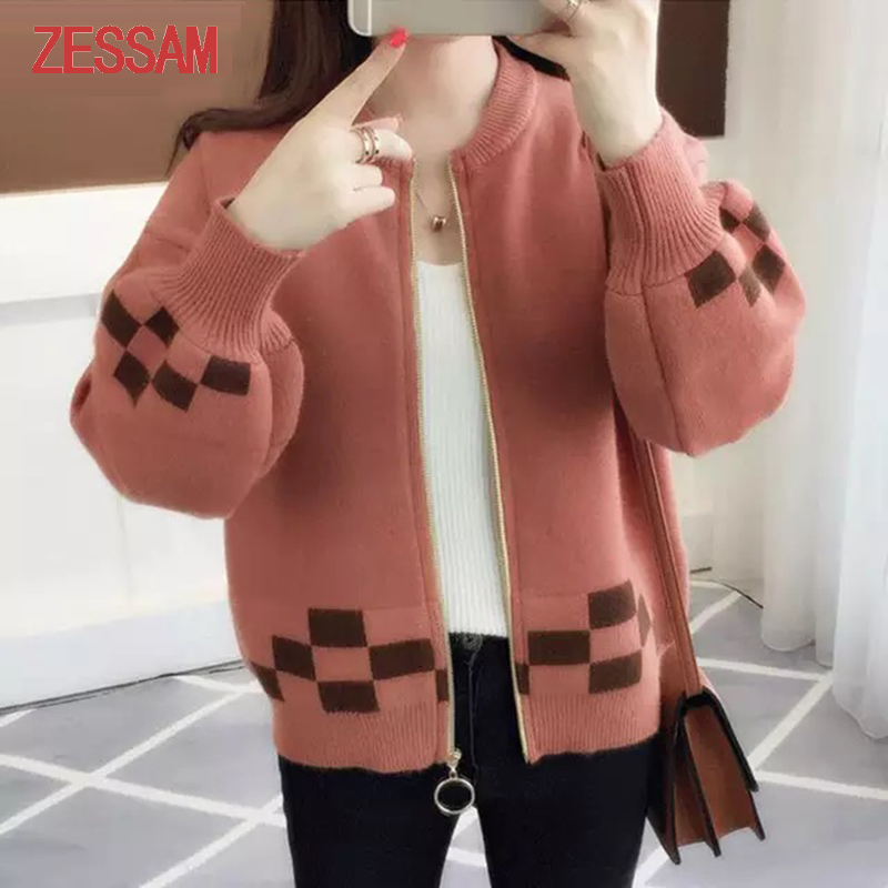 Women's Cashmere Knitted Sweater With Zipper, Autumn Winter Korean Long-sleeved Sweater Cashmere Female Knitted Jacket Sweater
