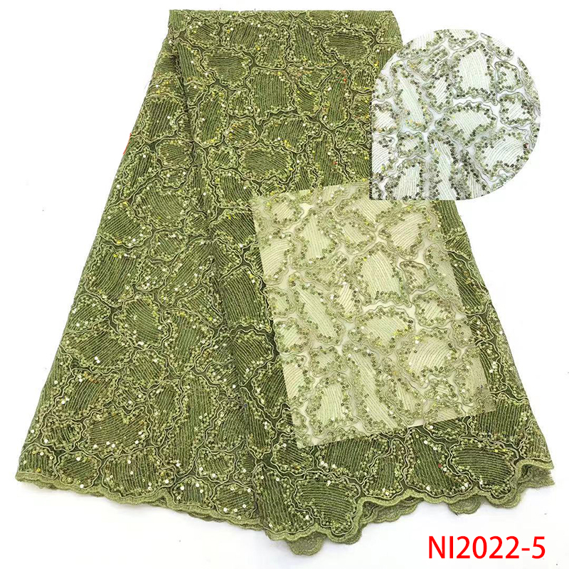 2019 High Quality Sequins Lace Fabric Hot Sale French Nigerian Lace Fabrics With Sequence KSNI2022-5