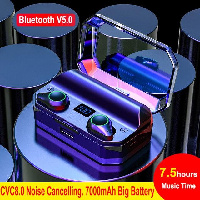 T9 tws verdadeiro fones de ouvido sem fio 7000 mah bluetooth 5.0 ipx7 à prova dwaterproof água com cancelamento ruído microfone