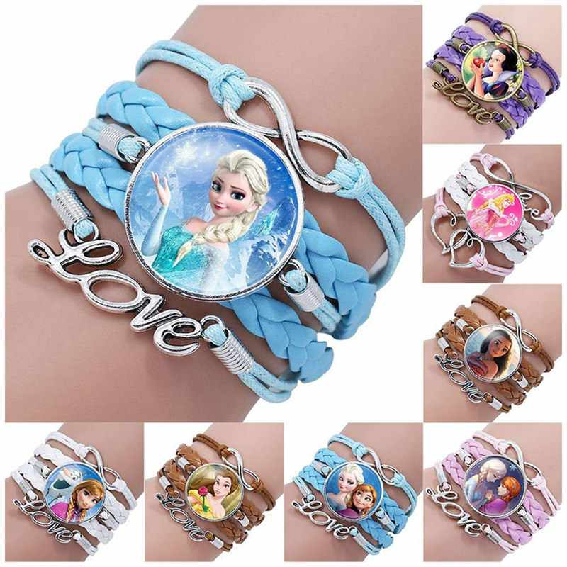 Princess Children Cartoon Bracelet Frozen  Lovely Wristand Girl Gift Clothing Accessories Bangle Kid Make Up Jewelry