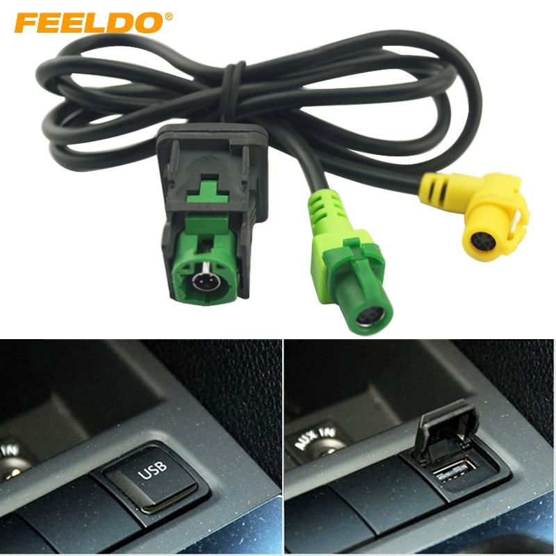 FEELDO Car OEM RCD510 RNS315 <font><b>USB</b></font> Cable With Switch For Volkswagen Golf MK5 MK6 VI 5 6 CC Tiguan <font><b>Passat</b></font> <font><b>B6</b></font> Armrest Position image