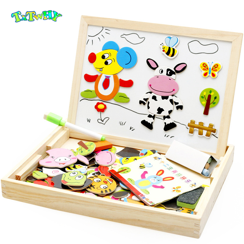 100+Pcs Wooden Magnetic Puzzle Toys Children 3D Puzzle Figure/Animals/ Vehicle /Circus Puzzle Wooden Toys for Children Gift 1
