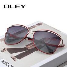 OLEY Grife Grande Quadro Óculos De Sol Borboleta Shades Para Mulheres Qualidade Moda Feminina óculos Polarizados UV400 Y7215