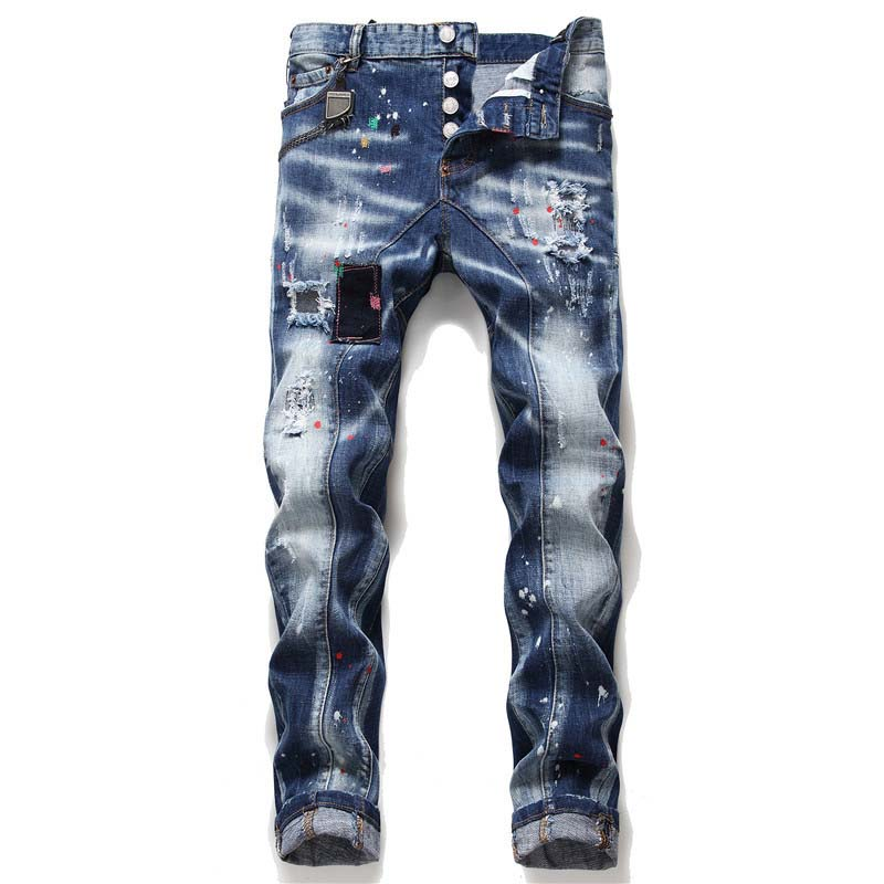 KIOVNO Mens Ripped Holes Denim Trousers Painted Patchwork Stretch  Jeans Pants For Male Straight