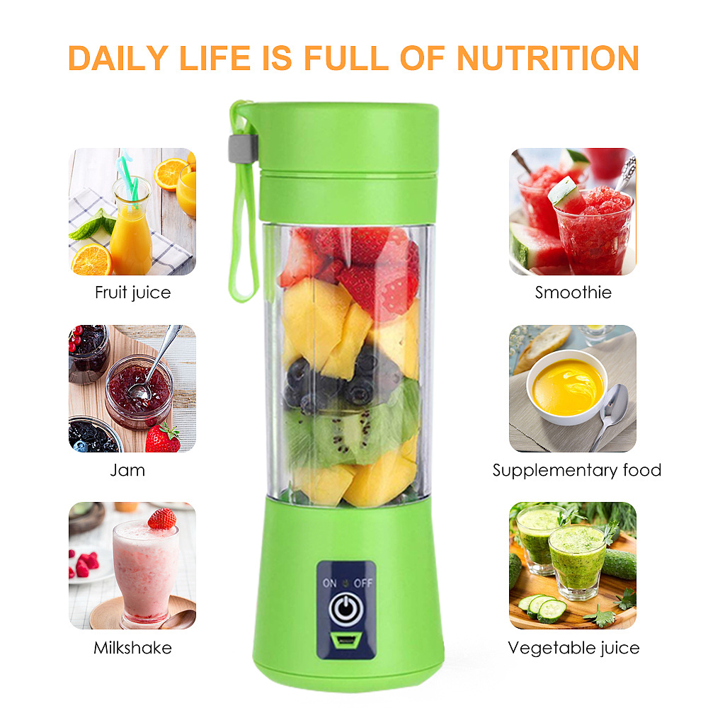 380ml Juicer Cup Electric USB Rechargeable Juicer Smoothie Fruit Machine Mini Juice Cup Maker Fast Blenders Food Processor image
