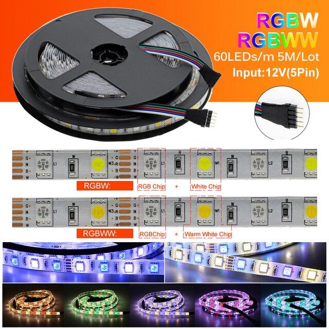 LED Strip 5050 DC12V 60LEDs/m Flexible LED Light RGB RGBW 5050 LED Strip 300LEDs 5m/lot 3