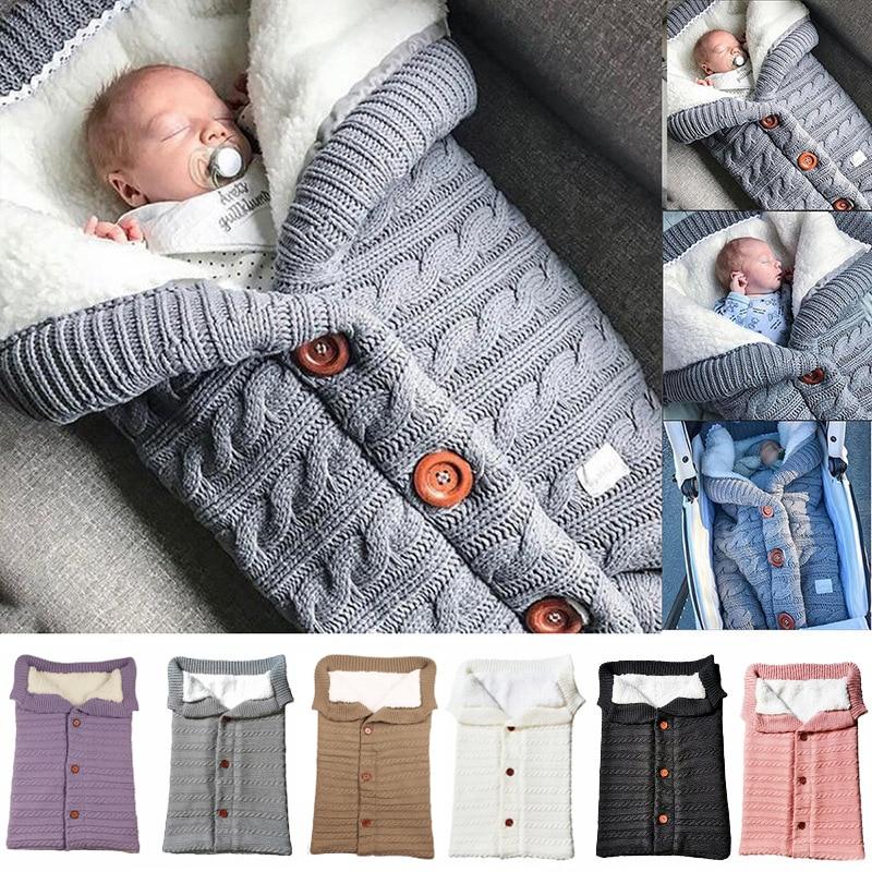 Baby Sleeping Bags Envelope Winter Warm Footmuff Toddler Blanket Wool Sleepsack Button Knit Swaddle Wrap Swaddling Stroller Wrap-in Blanket Sleepers from Mother & Kids