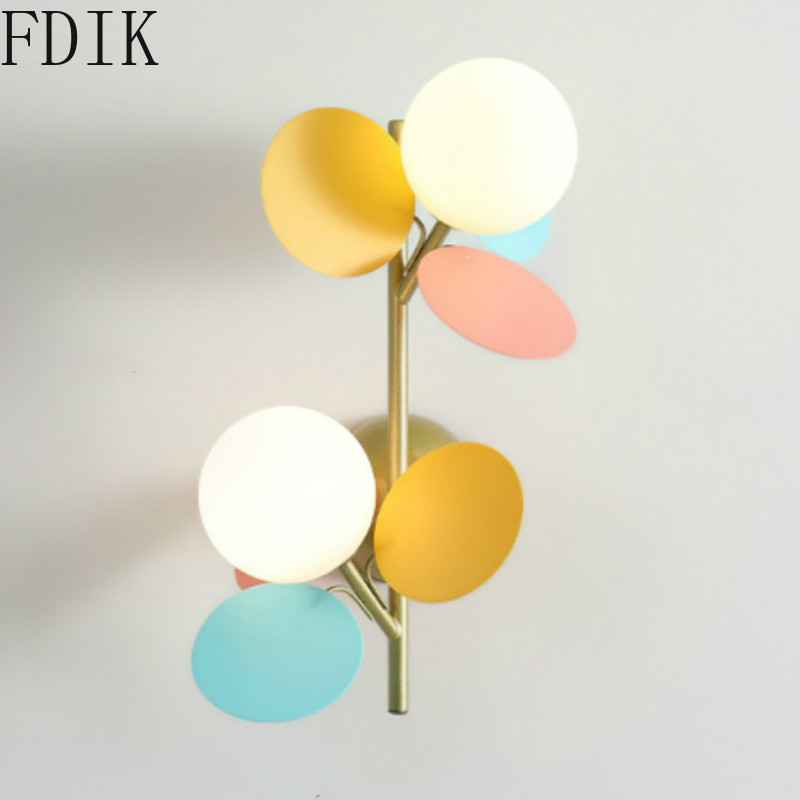 Цветочные настенные лампы с одним/двумя насадками, бра для домашнего декора, освещение в стиле лофт, светодиодные декоративные светильники ...