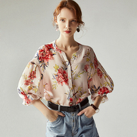 100% High Quality Silk Blouse Women Shirt Non positioni Printed Blouses Design Long Sleeves Office Work Top Graceful New Fashion