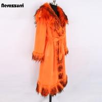 Nerazzurri zima długi pomarańczowy ciepłe grube miękkie puszyste Faux Fur Coat z wykończone futrem pas elegancki luksus Retro europejskiej mody 2021
