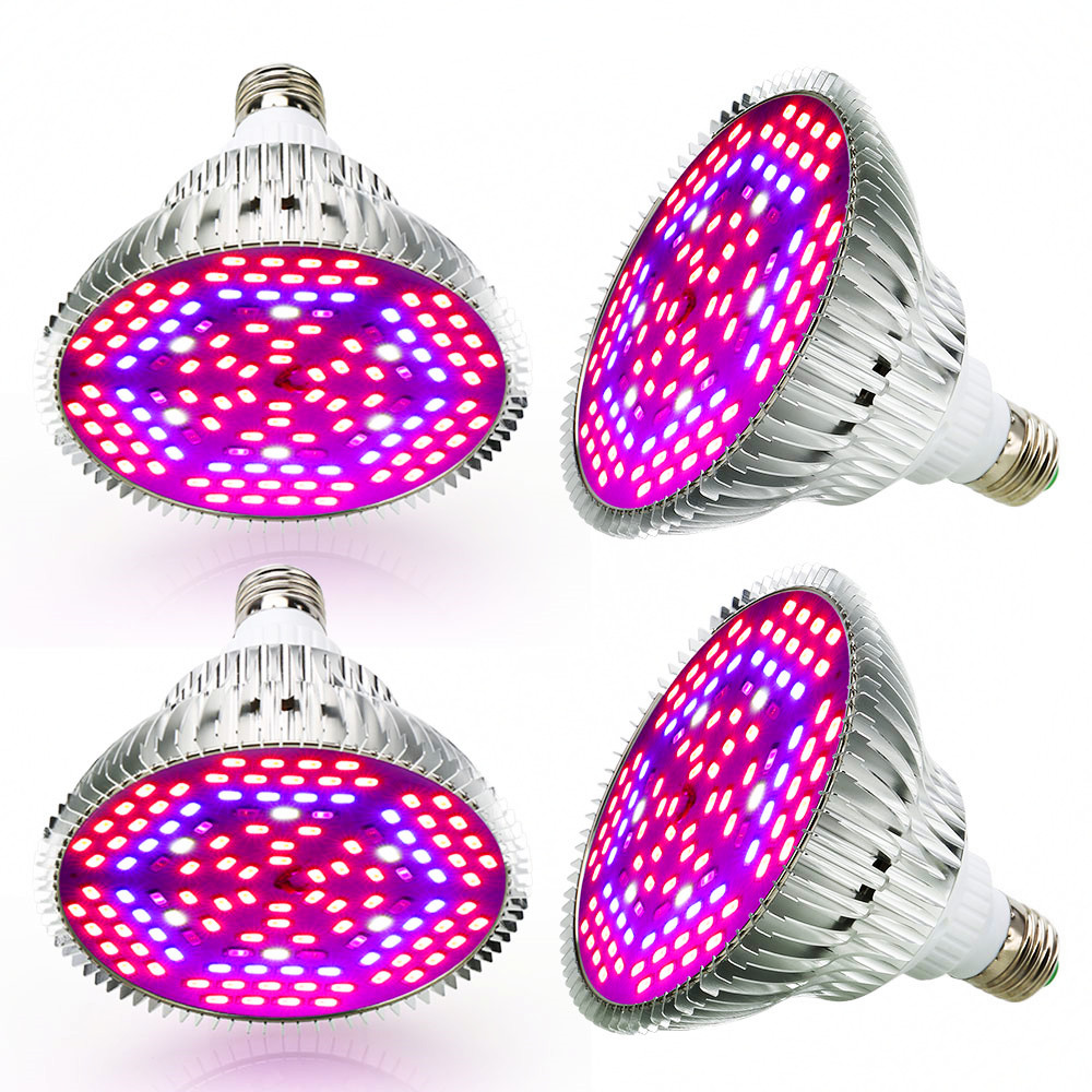 (4/Pack) 80W 120LED E27 LED Grow Light Full Spectrum For Indoor Plants Hydroponics System Overseas Warehouse Fast Shipping