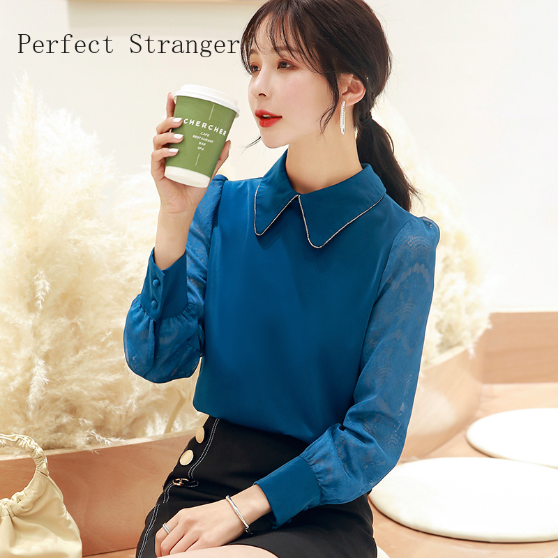2020 Spring New Arrival High Quality Long Sleeve Peter Pan  Collar   Women Chiffon Blouse