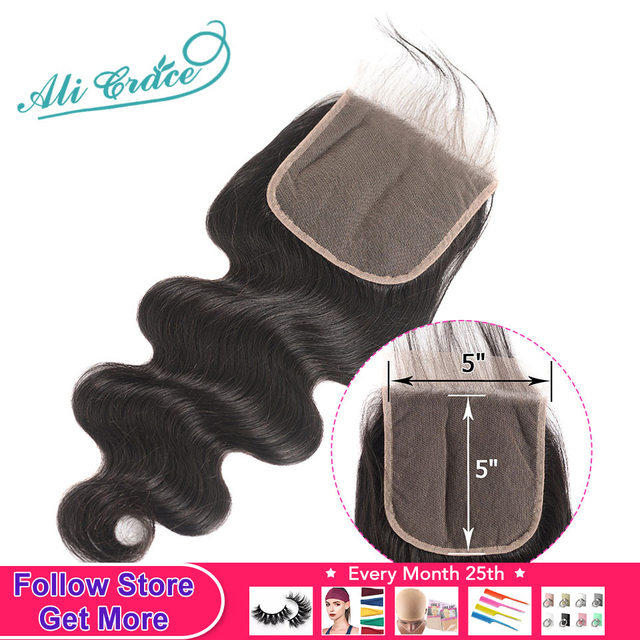 $ US $43.66 Ali Grace 5x5 Lace Closure Brazilian Body Wave Human Hair Closure with Baby Hair Natural Color Remy Brazilian Lace Closure 6x6