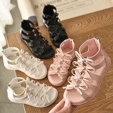 2021 New Summer Roman Boots High-top Girls Sandals Kids Gladiator Sandals Toddler Child Sandals Girls High Quality Shoes  21-36