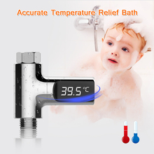 цена на LW-101 LED Display Household Water Shower Thermometer Flow Self-generating Electricity Water Temperature Tester Meter For Baby