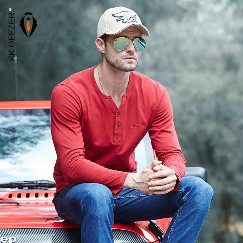 Koszula męska koszulka 100% bawełna z długim rękawem dekolt jesień moda wysoka marka jakości Casual odzież męska Tshirt Homme topy Tees