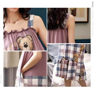 Image 5 - Caiyier Cute Bear Print Sling Nightgown Sleeveless Summer Night Dress Cotton Women Sleepshirts With Pocket Lounge Wear M XXL