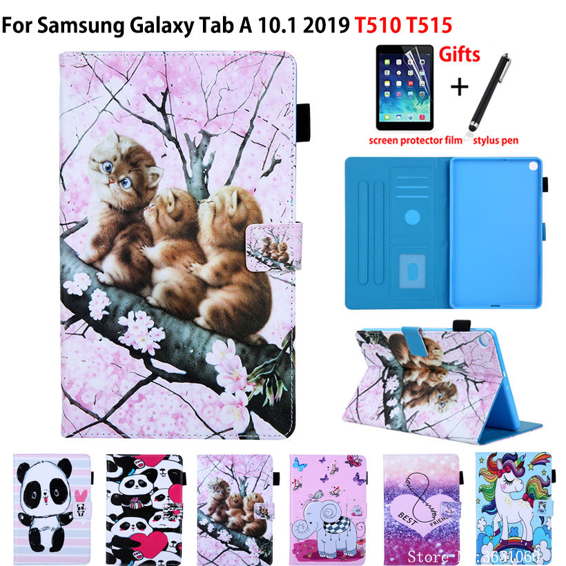 SM-<font><b>T510</b></font> <font><b>Case</b></font> For Samsung Galaxy Tab A 10.1 2019 <font><b>T510</b></font> T515 SM-T515 Cover Funda Tablet Cartoon Cat Stand Shell Capa +Gift image