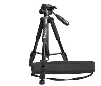 Huepar TPD14 Multi-function Travel Camera Tripod with 3-Way Swivel Pan Head,Bubble Level/  Adjustable Laser Level Tripod