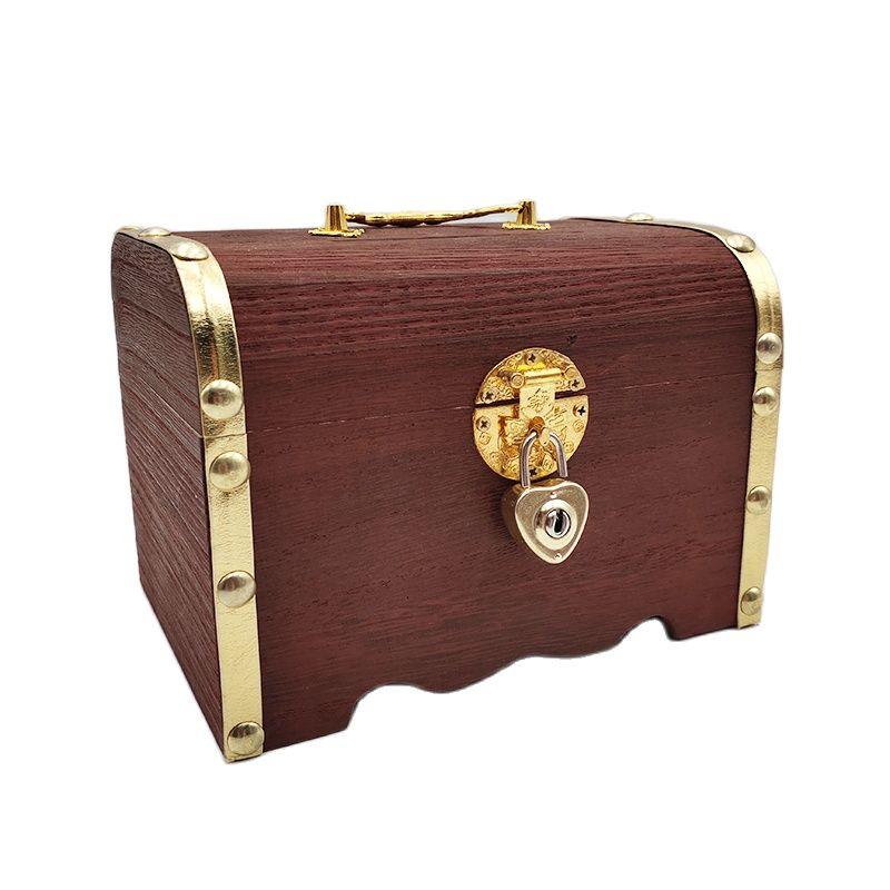 Wooden Box Piggy Bank Retro With Lock Storage Change Savings Box For Coins Cash Treasure Safe Money Box Wood Craft Child Gift