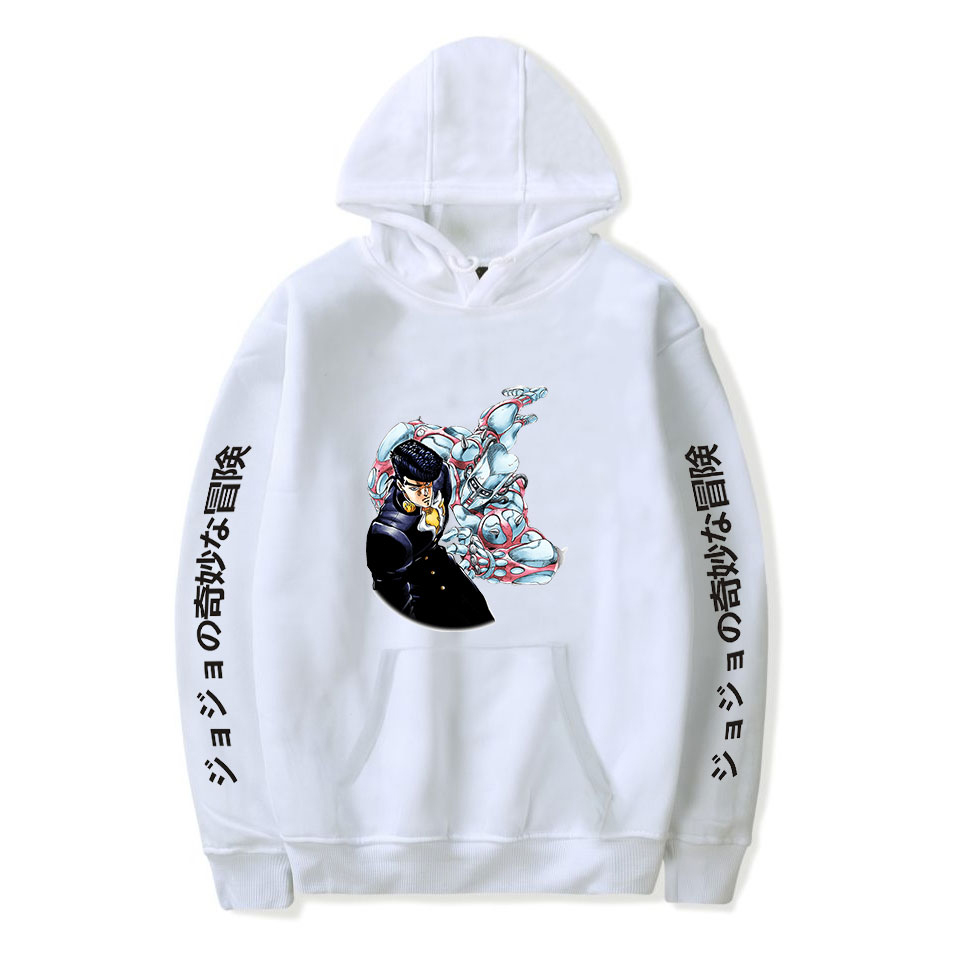 Popular White Comic JOJO Hoodies Men Women Sweatshirts Hooded Harajuku Hip Hop Casual Hoodie JOJO Boys Girls Cartoon Pullovers