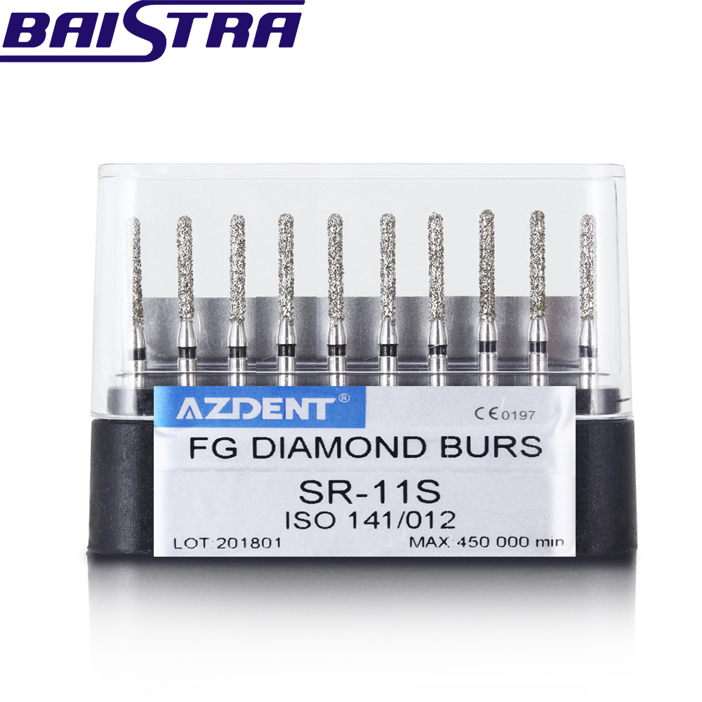SR-11S 10 Pcs/set Dental High Speed Diamond Burs  Dentist Super Coarse Diamond Dental Lab Tools