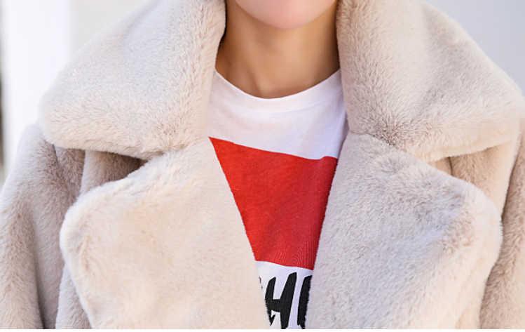 Abrigo largo de piel de conejo de imitación