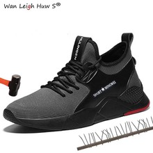 Summer Mens Outdoor Breathable Mesh Light & Comfortable Steel Toe Protective Work Shoes Boots Men Puncture Proof Safety