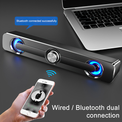 SPASH USB Bluetooth 5.0 Computer Speaker Bar Stereo Subwoofer Surround Wired Loudspeaker For PC Laptop Smartphone Home Theater