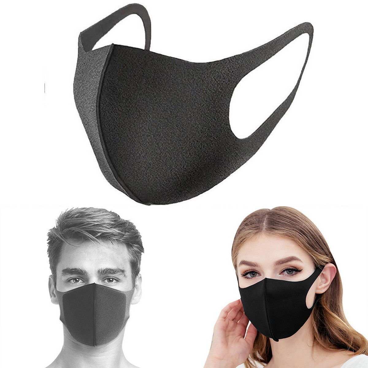 Washable Face Mask Nose Protection Reusable Cycling Anti Dust Environmental Mouth Mask Surgical Respirator Fashion Black Mask