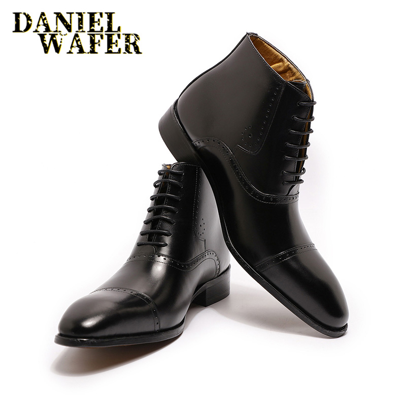 New Fashion Men Ankle Boots Men Formal Dress Leather Shoes Western Boots Cowboy Boots Lace Up Casual Shoes Brown Black Boots Men