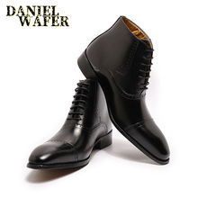 цены New Fashion Men Ankle Boots Men Formal Dress Leather Shoes Western Boots Cowboy Boots Lace Up Casual Shoes Brown Black Boots Men