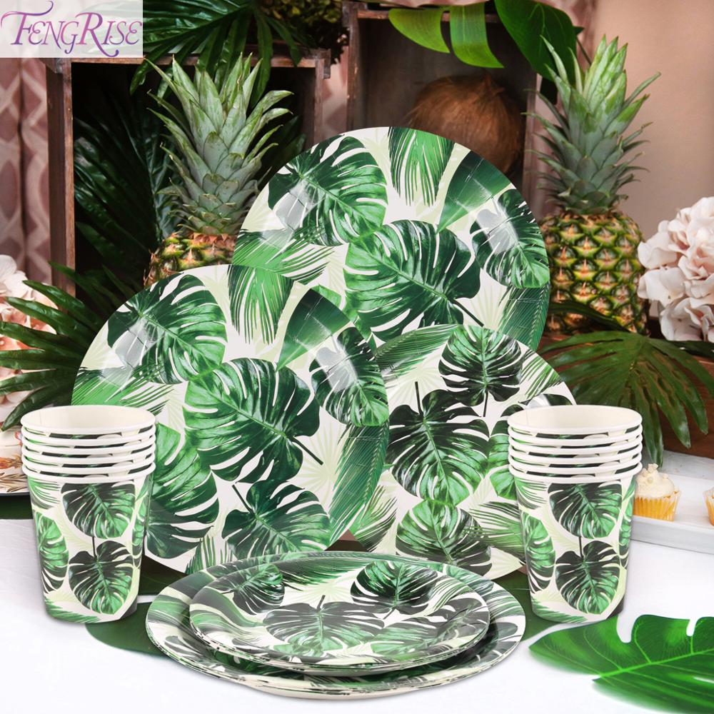 Green Monstera Leaf Disposable Party Tableware Hawaiian Tropical Party Supplies Hawaii Luau Summer Party Decor Jungle Safari