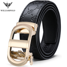 WILLIAMPOLO Mens Belt Business Casual Leather Automatic Buckle Medium and Young Gold Luxury Original New 2019