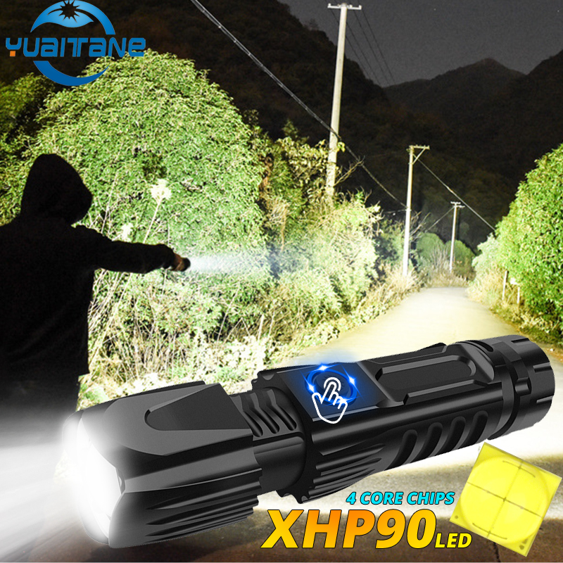 Powerful XHP90.2 LED Flashlight Tactical Camping Waterproof Lantern Smart Chip Control Torch USB Rechargeable Use 26650