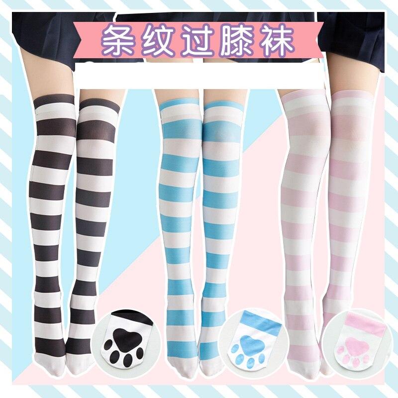 Anime Cute Cat Paw Bottom Blue & Pink Striped Women's Lolita Girl Over-knee Stockings Velvet Cosplay Thigh High Long Stockings