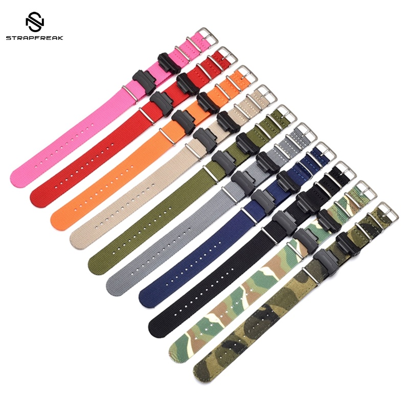 Nylon NATO Watchband for Casio <font><b>G</b></font>-<font><b>Shock</b></font> GA-110/ 100,<font><b>DW</b></font>-<font><b>5600</b></font>,GW-6900 Sliver Ring Buckle Bracelet Band Strap With Adapters image