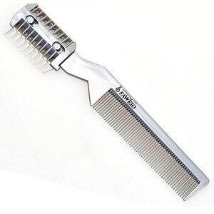 Image 1 - 1 pc escova de cabelo profissional pente navalha de corte de barbear desbaste pente trimmer pente com lâmina pentes ferramenta estilo do cabelo