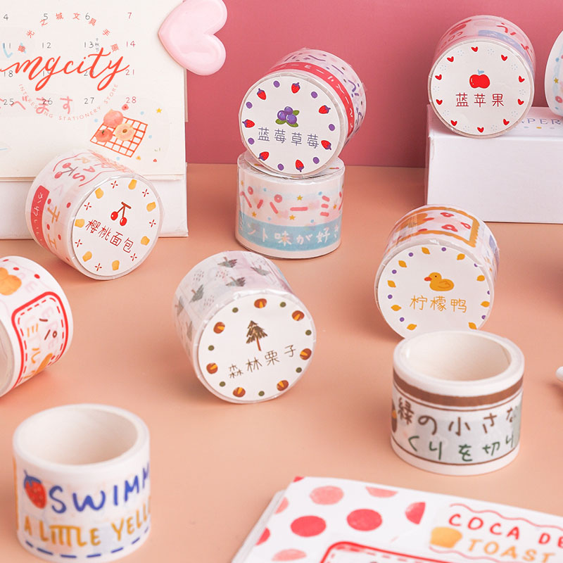 1 Pc Kawaii Washi Tape Cute Masking Tape Strawberry Fruit Duck Diy Sulfuric Acid Paper Decor Stickers Planner Stationery