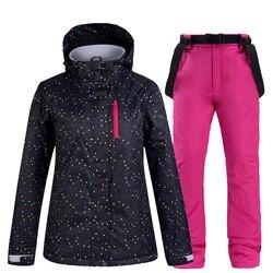 Traje de esquí de invierno para mujer, chaqueta y pantalones de esquí para mujer, traje de esquí y snowboard impermeables cálidos, abrigo de esquí para mujer