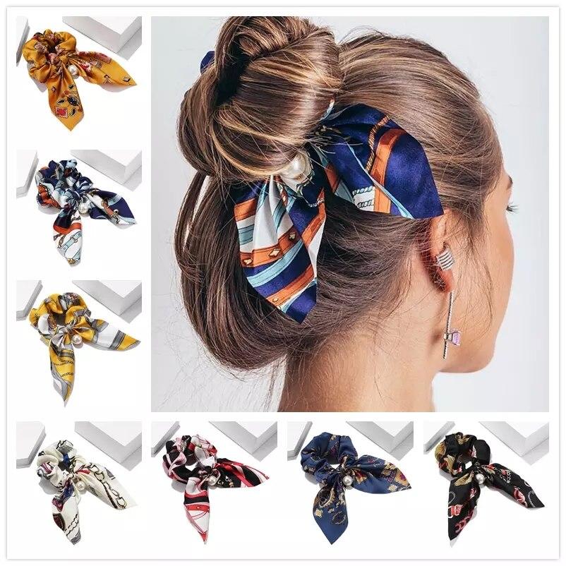 Шифоновые эластичные повязки для волос с бантом для женщин и девушек, жемчужные резинки для волос, повязка на голову, завязки для волос, держ...